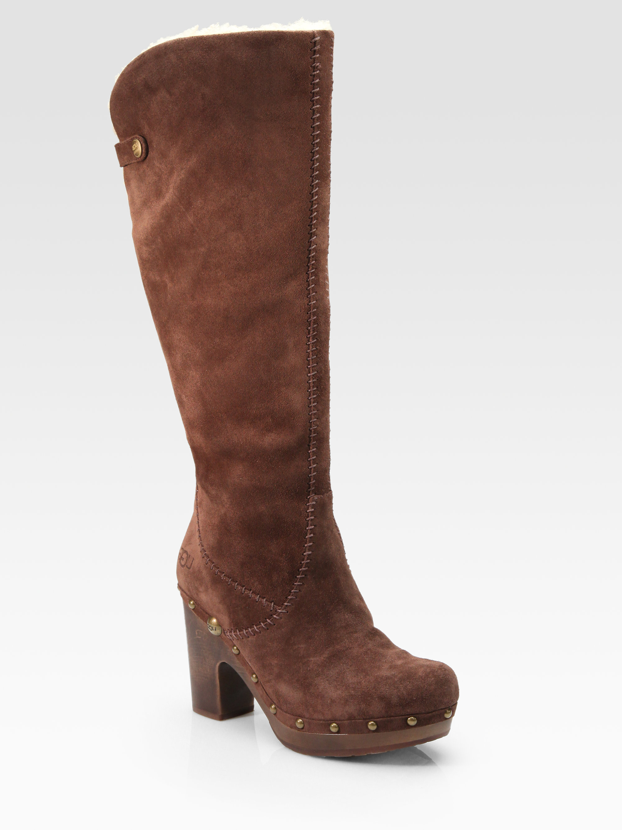 ugg lillian suede kneehigh clog boots in brown lyst
