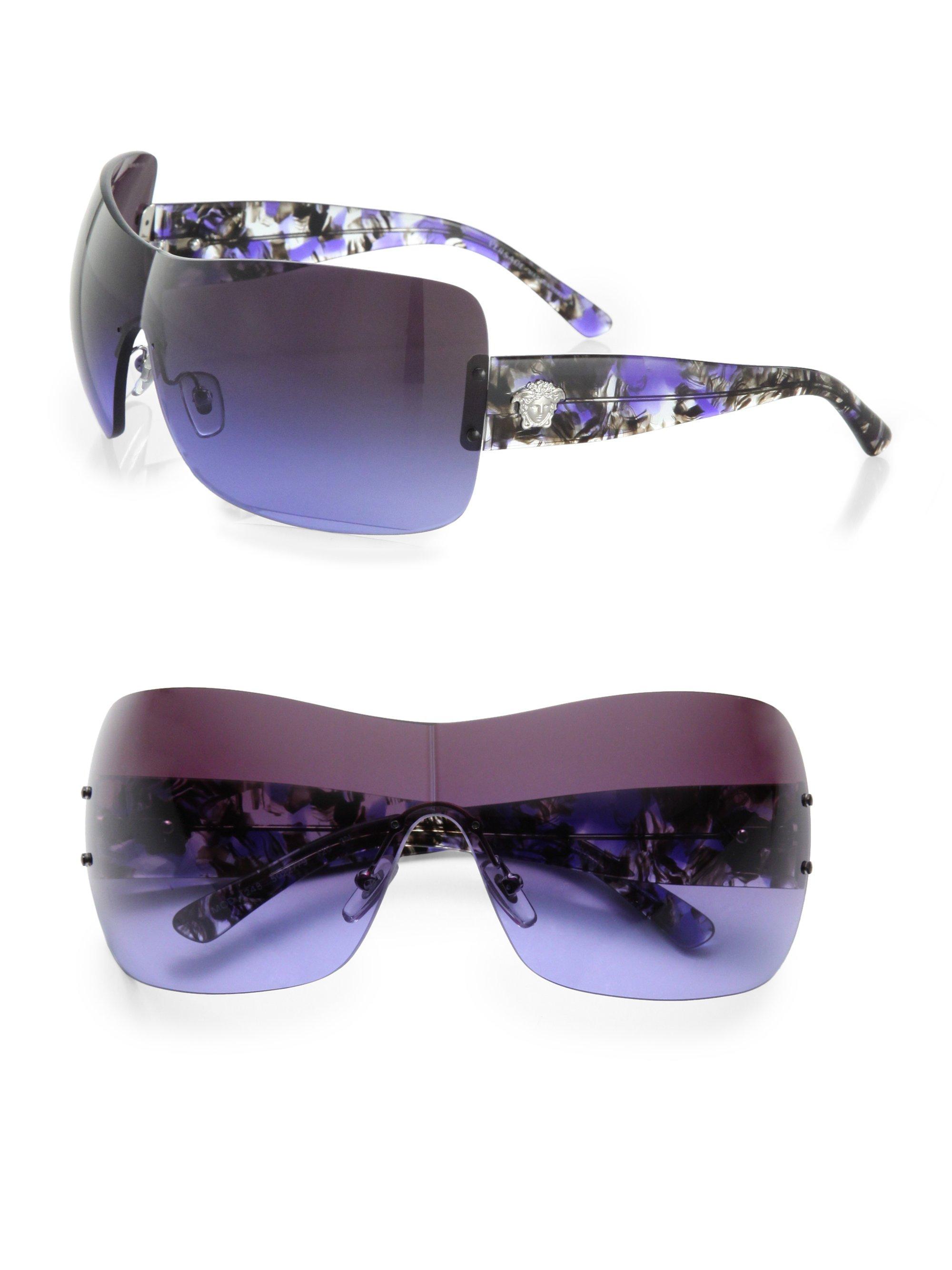 Versace Rimless Wrap Shield Sunglasses in Purple (violet ...