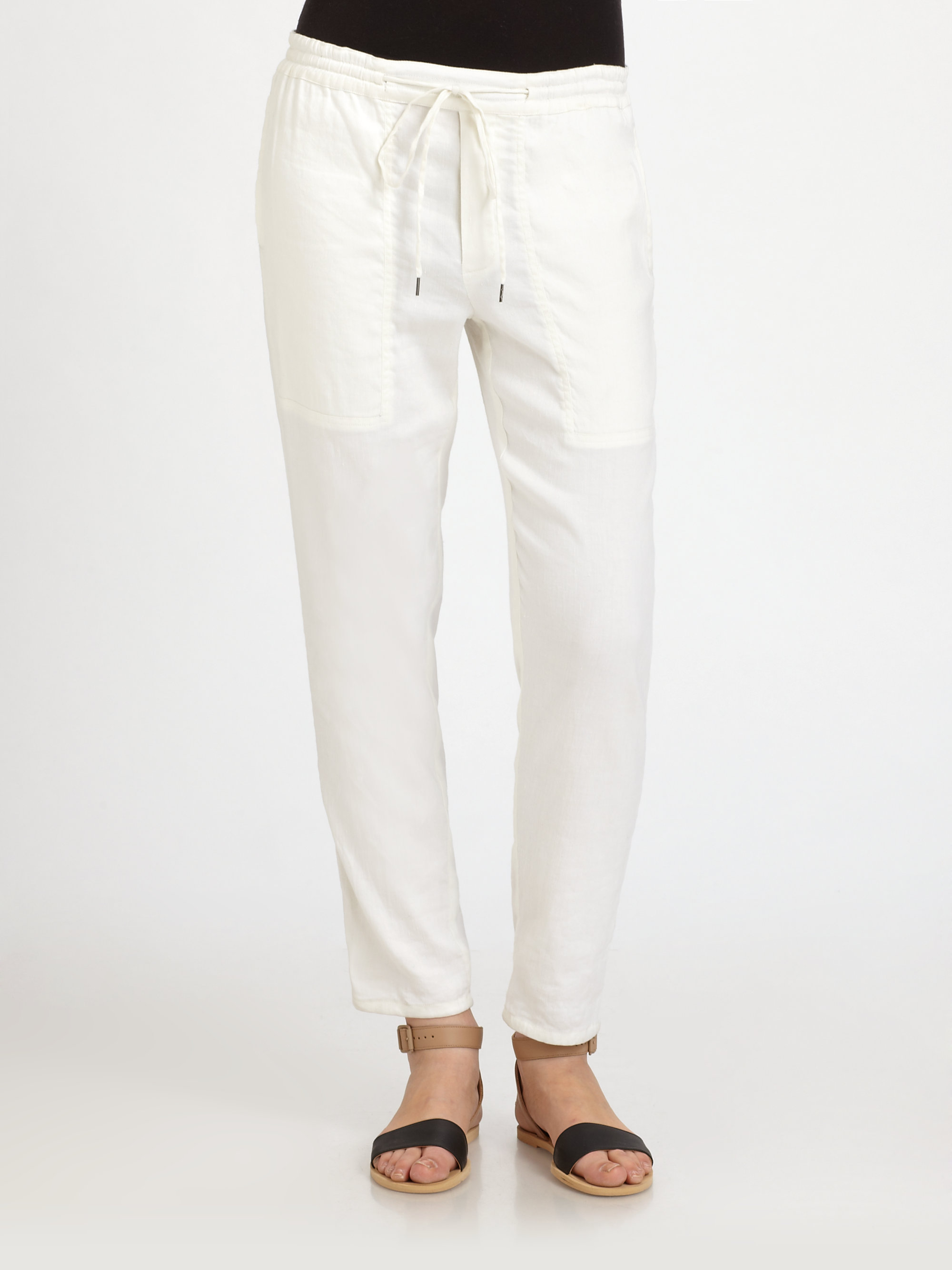 Vince Stretch Linen Jogger Pants in White | Lyst
