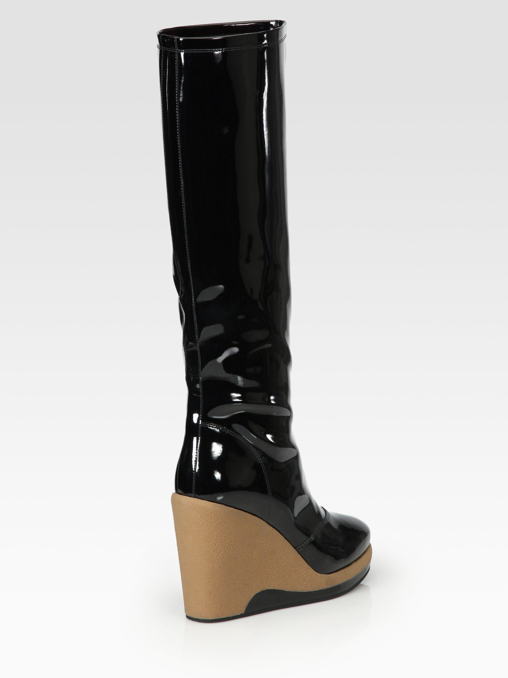 marc by marc jacobs patent leather knee high wedge rain. Black Bedroom Furniture Sets. Home Design Ideas