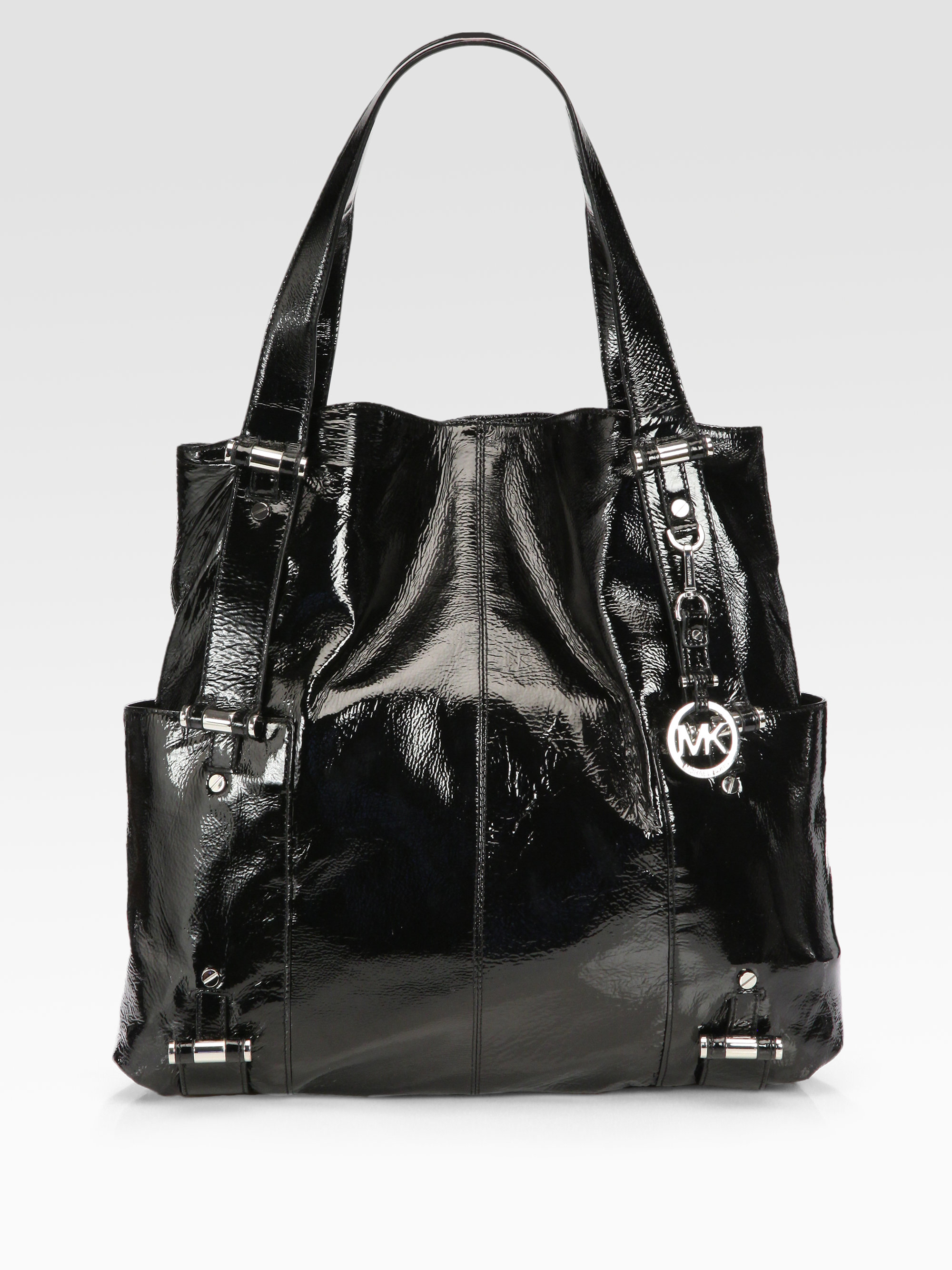 493d58bb7ff8 ... official lyst michael michael kors gibson patent leather large tote bag  in e2ecd 5a517