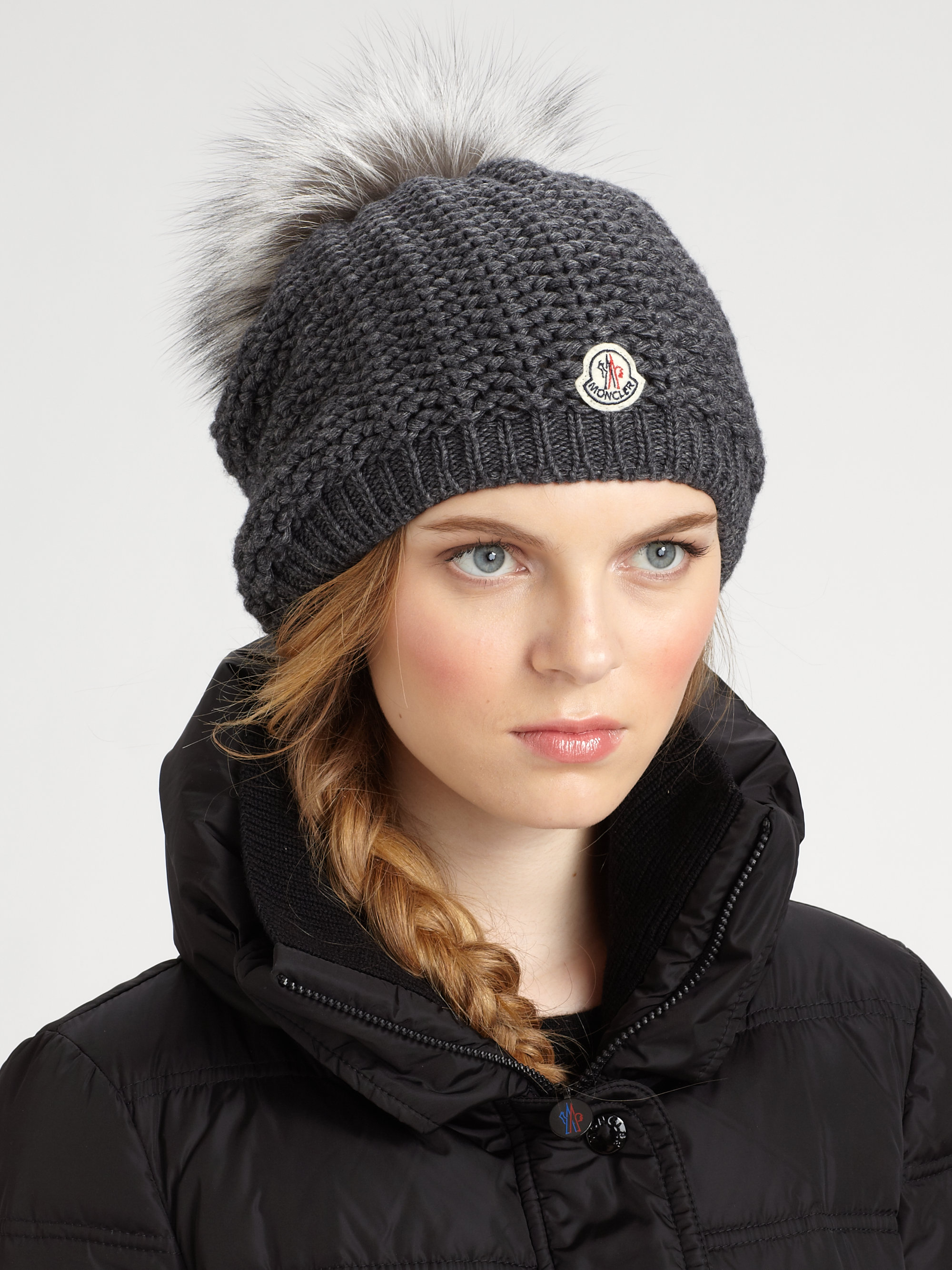 moncler slouchy hat in gray lyst