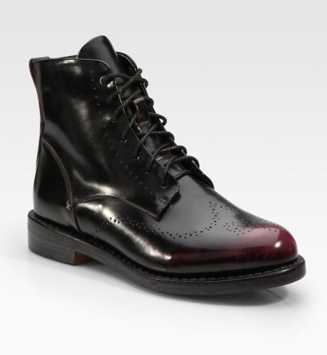 rag bone wessex patent leather lace up ankle boots in