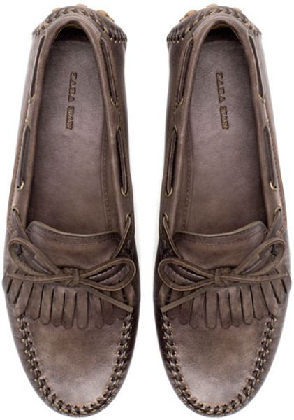 Zara Fringed Driving Shoes in Brown for Men