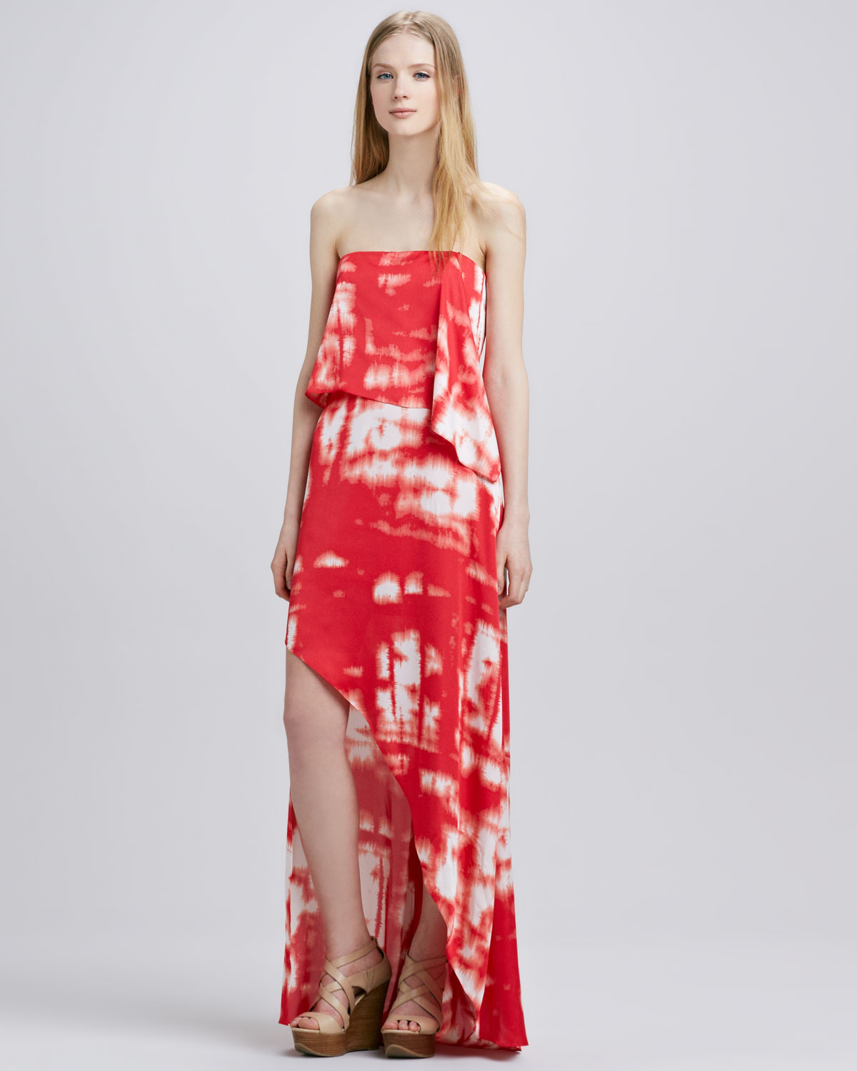 Bcbgmaxazria Tiedye Strapless Maxi Dress in Red | Lyst