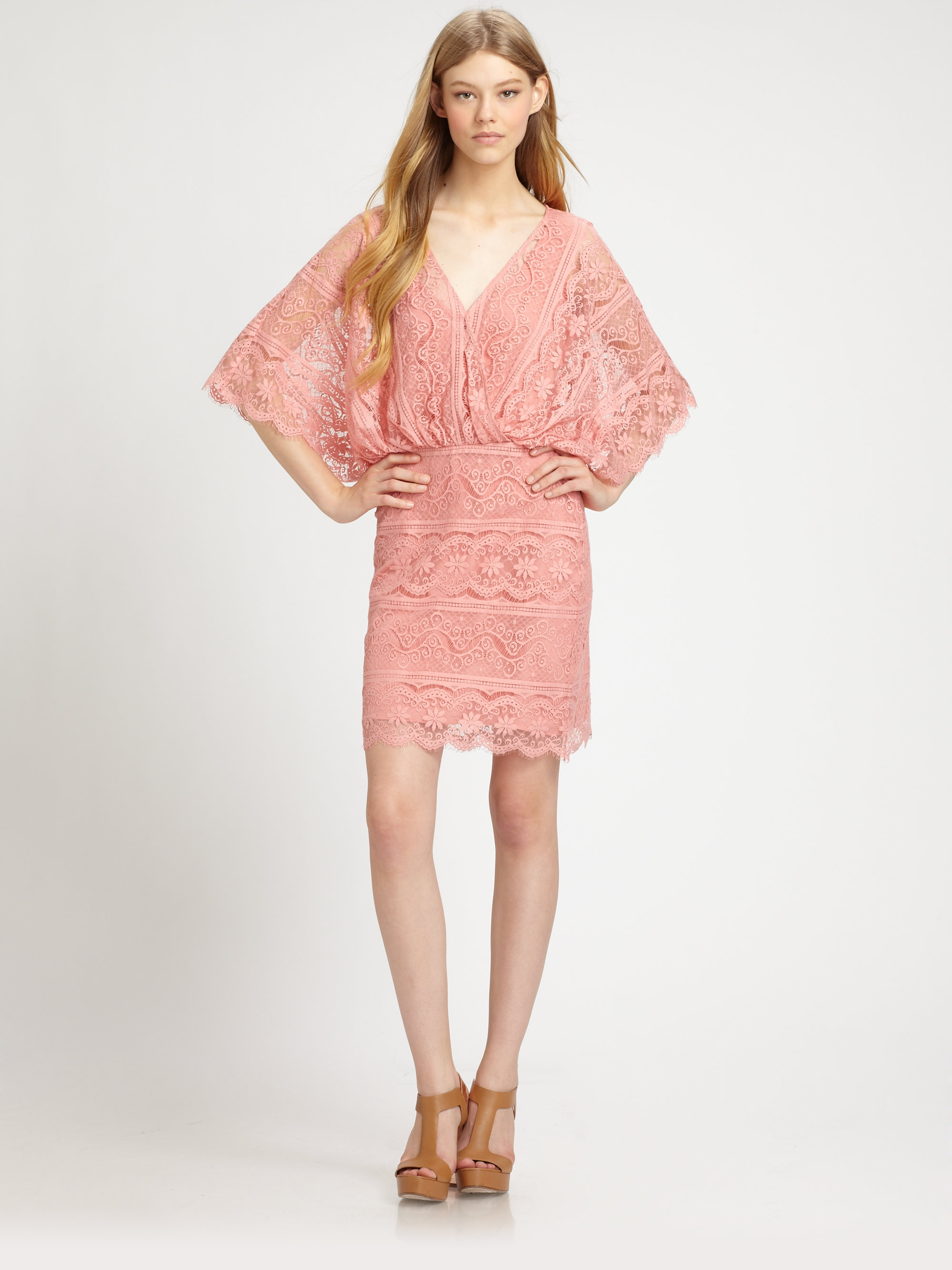 Beyond vintage Bell-sleeve Lace Dress in Pink | Lyst