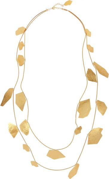 herve van der straeten cailloux hammered goldplated necklace in gold lyst. Black Bedroom Furniture Sets. Home Design Ideas