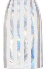 Jonathan Saunders Issy Holographic Striped Crepe Pencil Skirt
