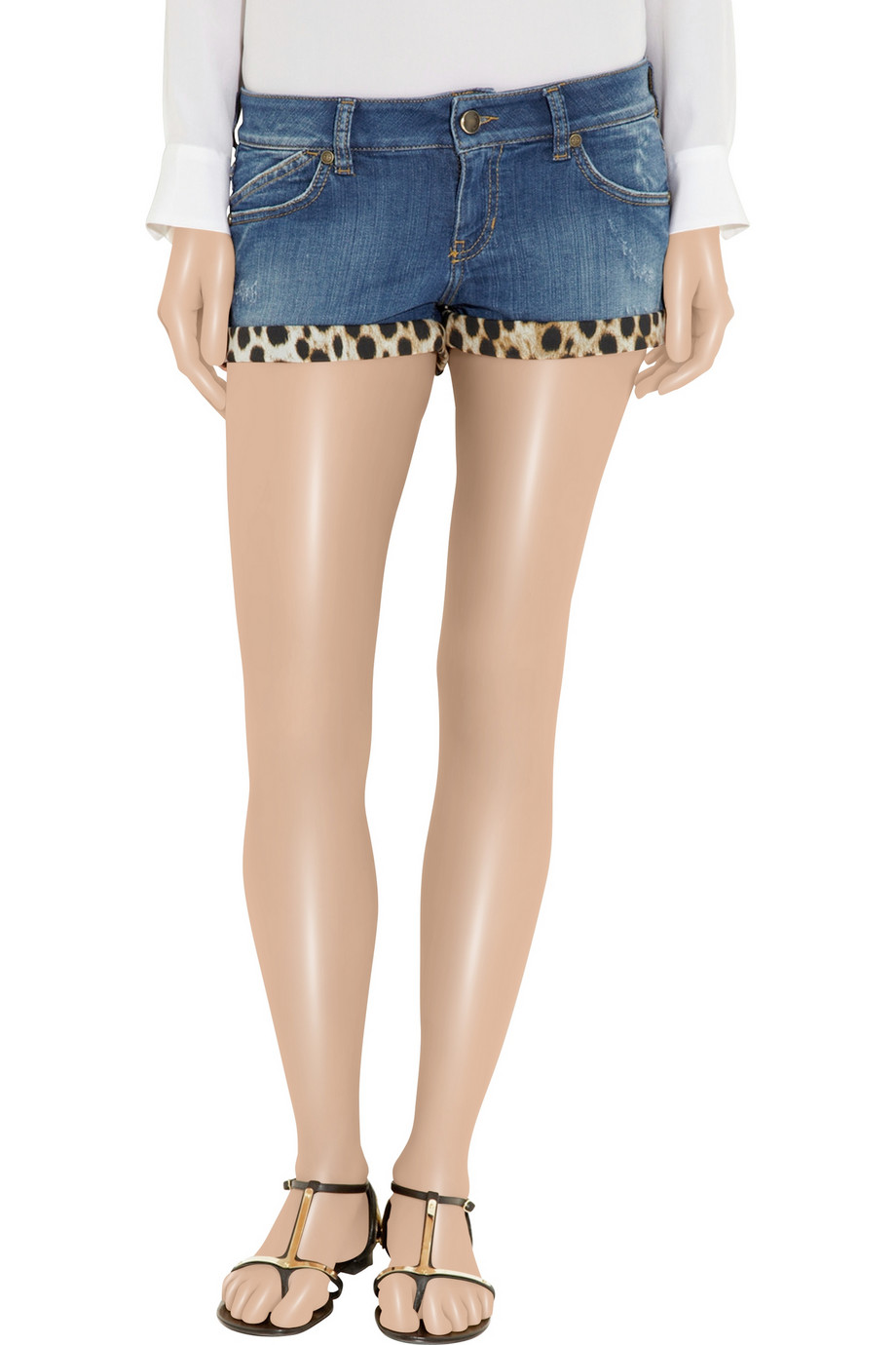 Lyst - Just cavalli Leopard-print Stretch-denim Shorts in Blue