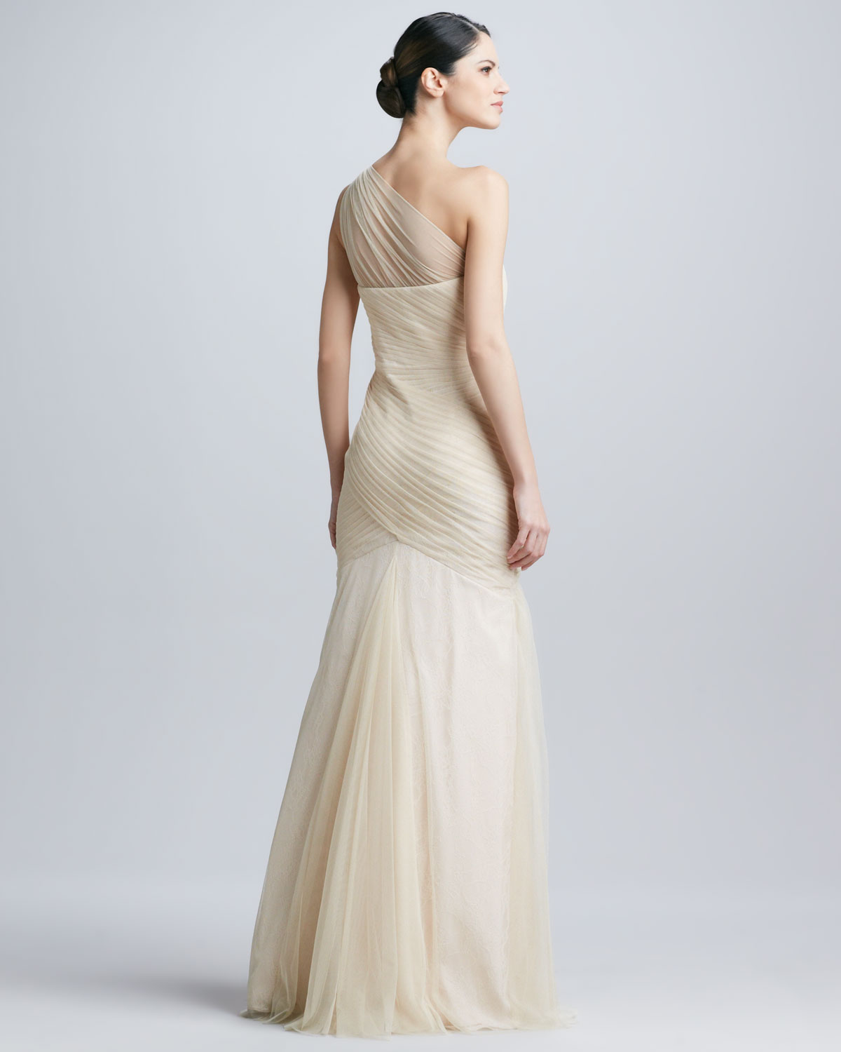 Lyst - Ml Monique Lhuillier One Shoulder Tulle Gown in White