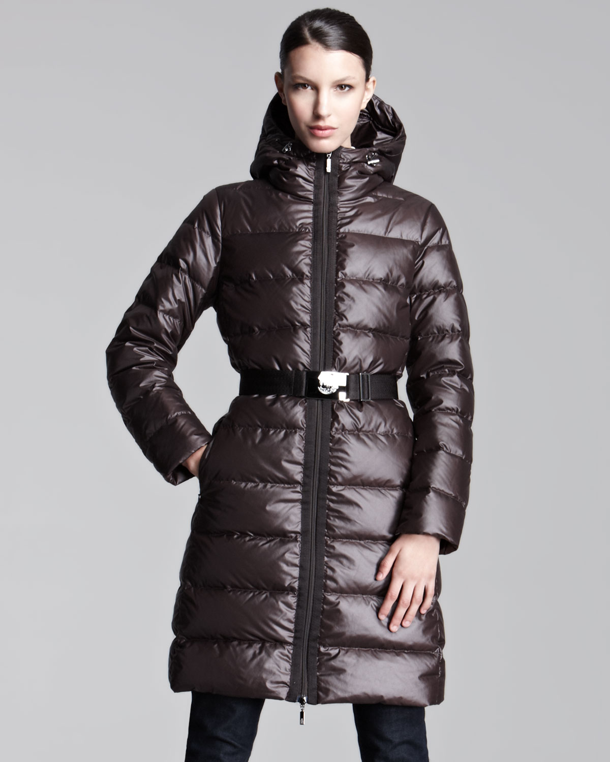 Moncler Midlength Lacquered Puffer Coat In Brown Lyst