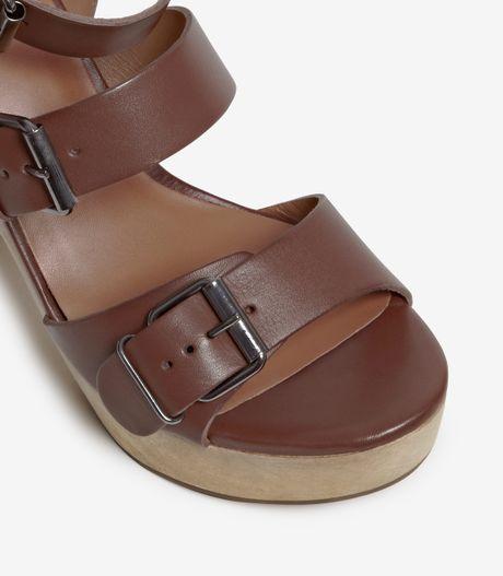 Reiss Blythe Buckle Strap Wood Platform Sandal In Brown