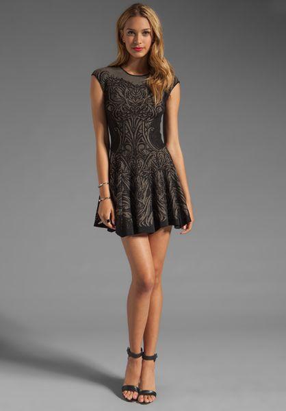 Rvn Tattoo Lace Jacquard Flared Dress In Black Black