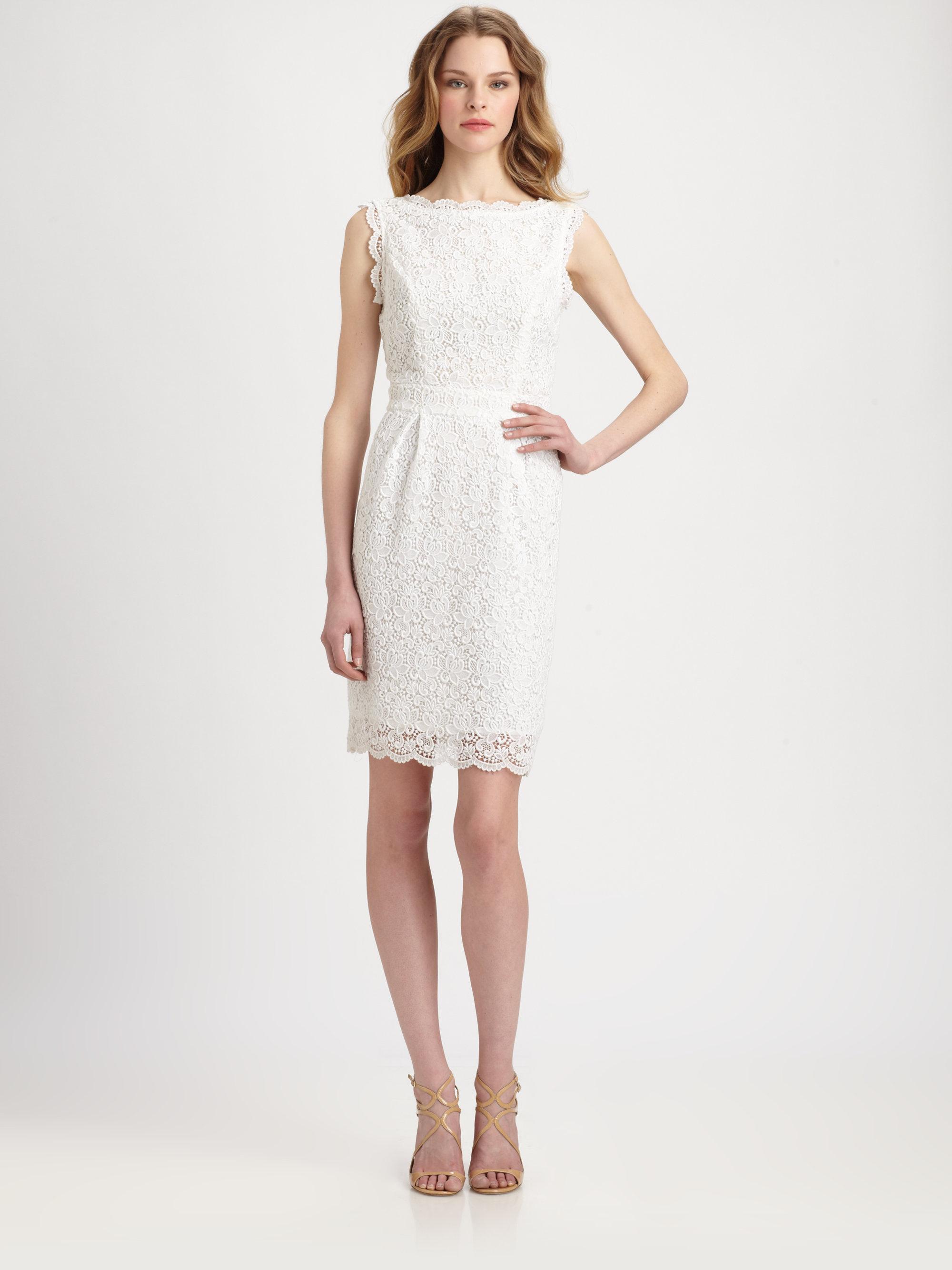 Shoshanna Nyla Cotton Lace Sheath Dress in White | Lyst
