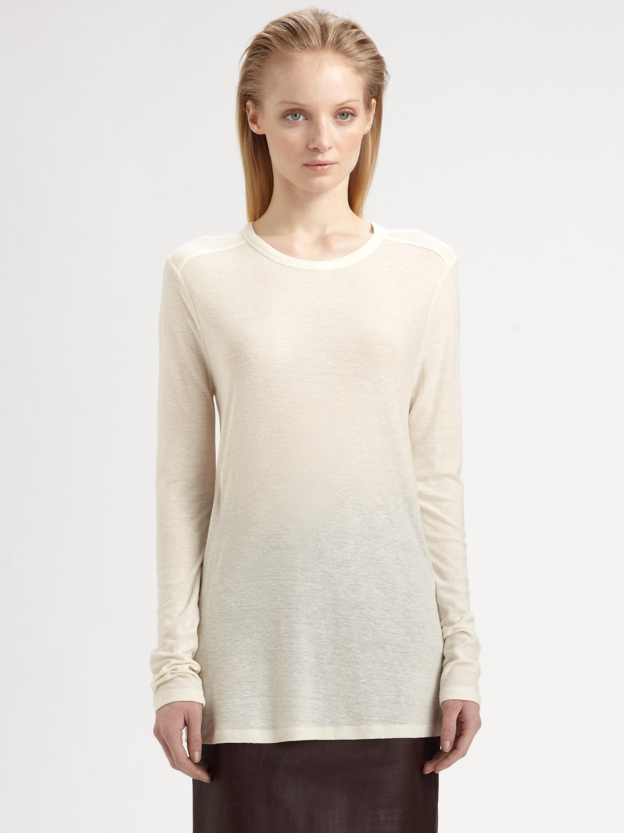 T by alexander wang classic slub long sleeve tee in white for Alexander wang t shirt women