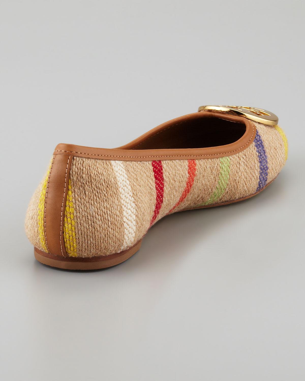 Tory Burch Reva Striped Linen Ballet Flats In Brown Lyst
