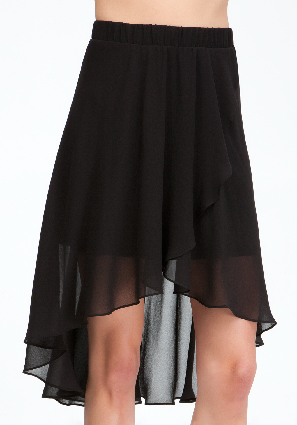 bebe high low chiffon skirt in black blk lyst