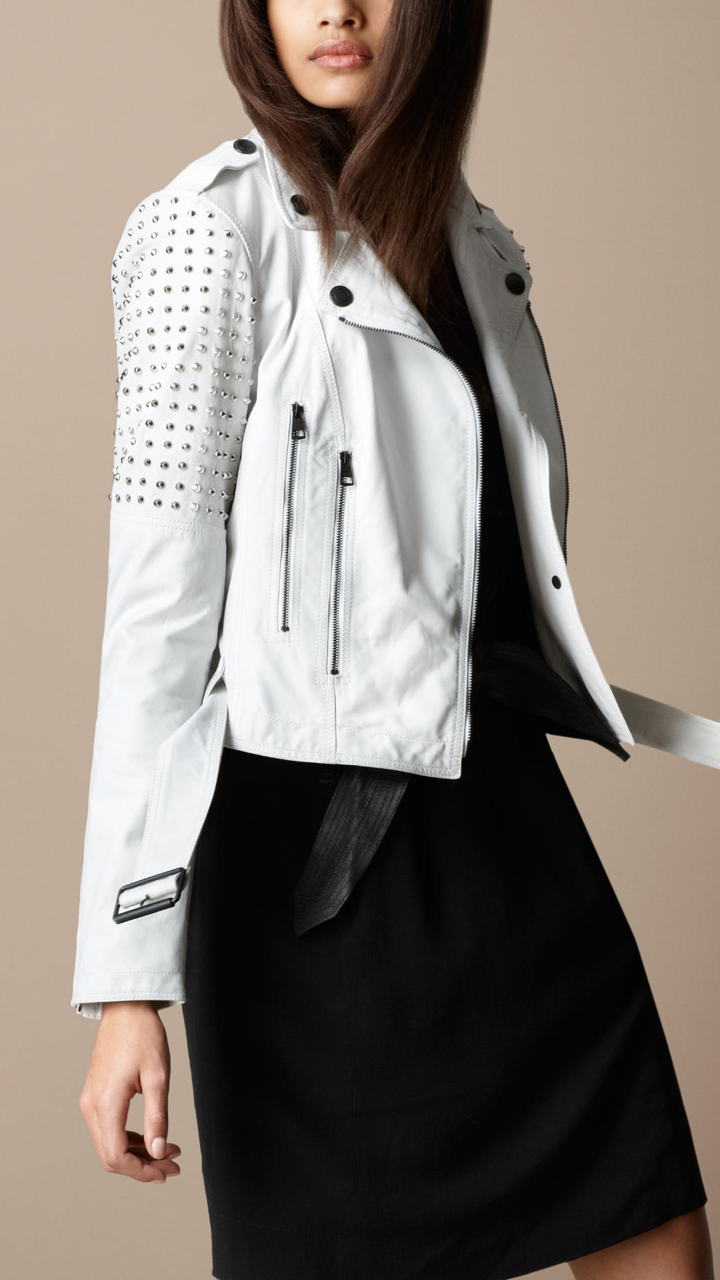 All white leather jacket