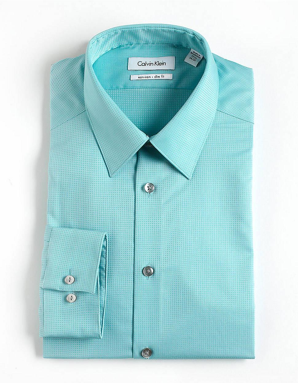 Lyst calvin klein textured striped cotton dress shirt in for Aqua blue mens dress shirt