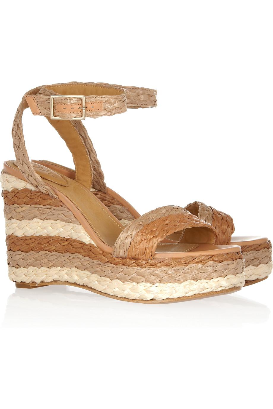 3ef2ffc0338 Lyst - Chloé Halter Ankle Raffia Wedge Sandal in Brown