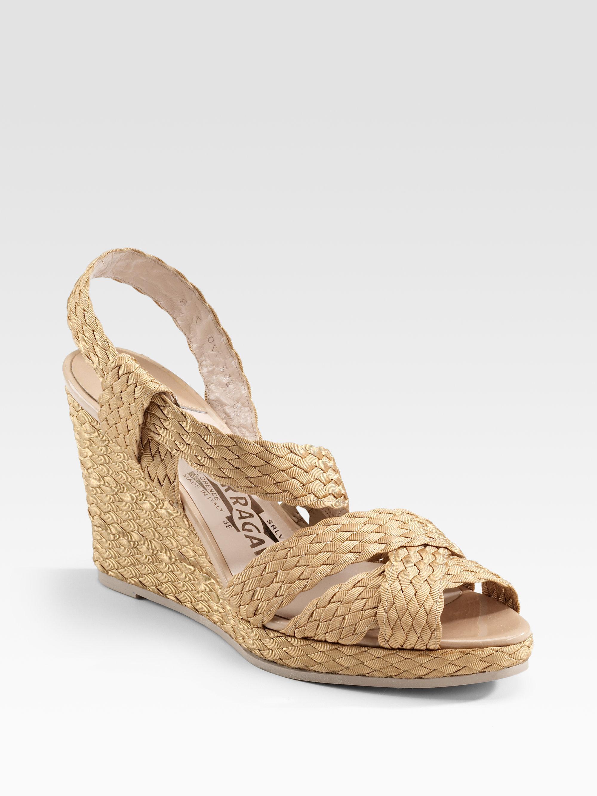 Ferragamo Dulcinea Crochet Wedge Sandals In Natural Lyst