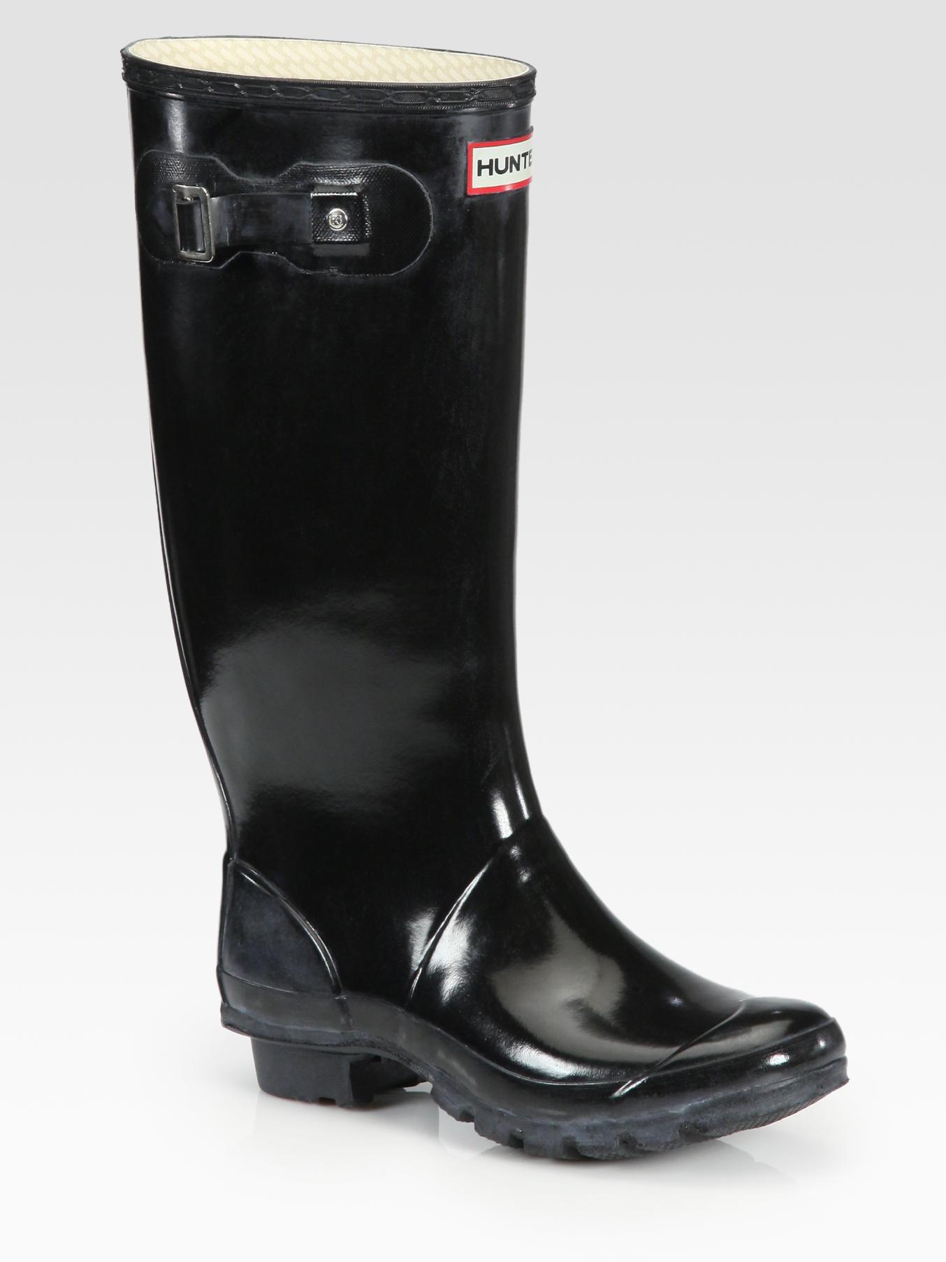 Hunter Huntress Wide-Calf Rain Boots In Black - Lyst