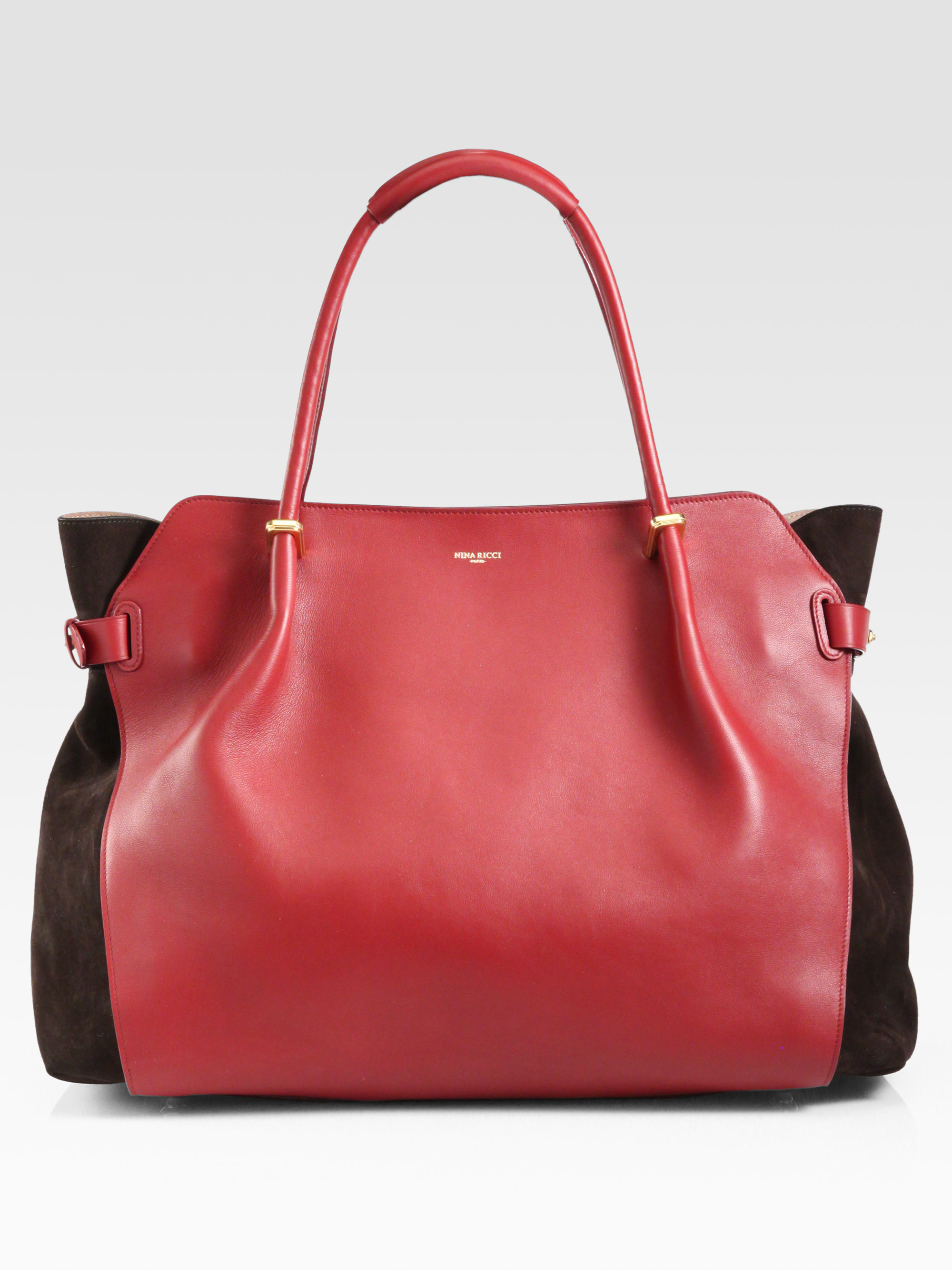 4b4b54a6c1 Lyst - Nina Ricci Marche Suedepaneled Leather Tote in Red