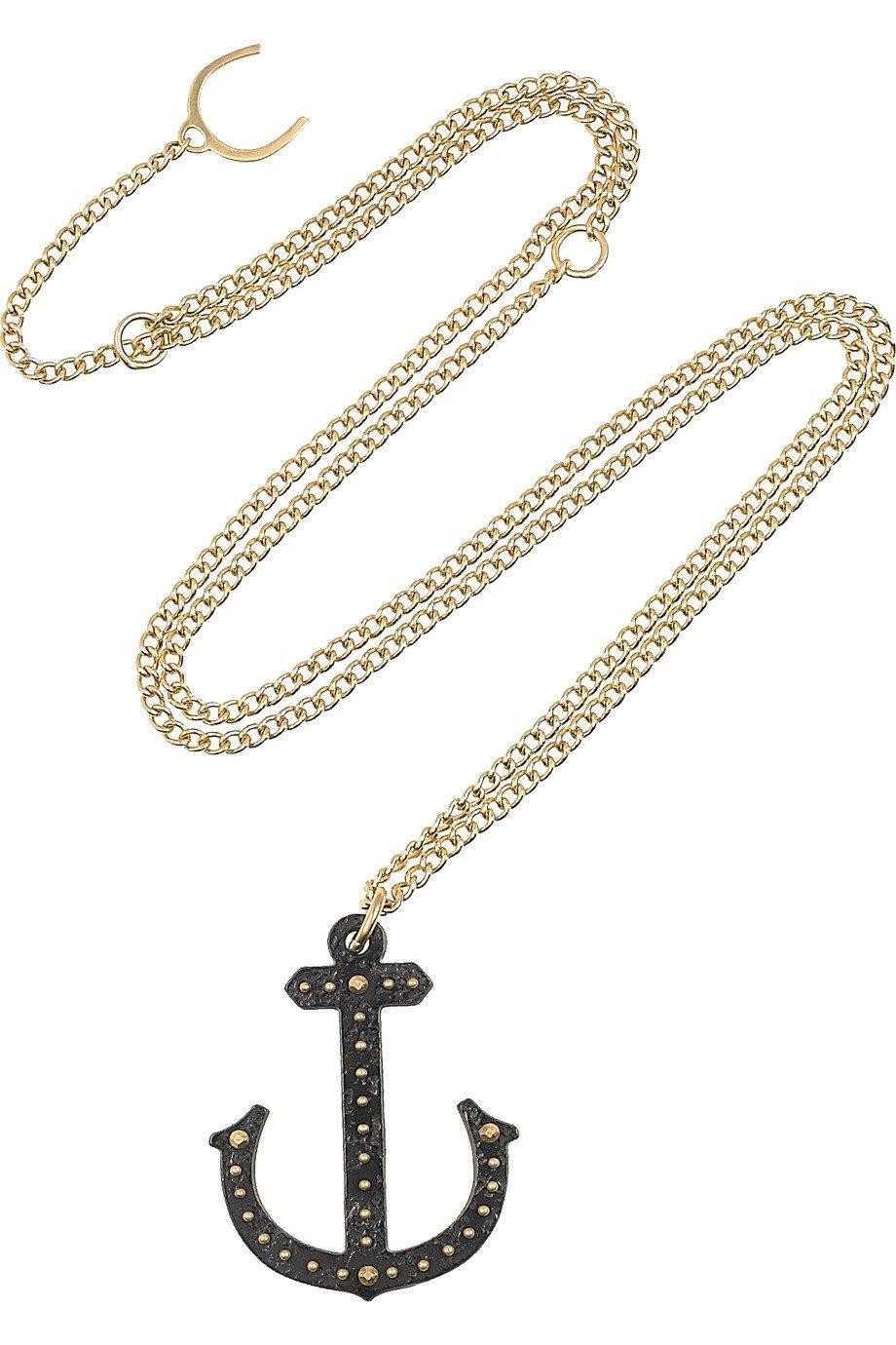 Philip Crangi Alber Anchor 14karat Gold And Blackened Steel Necklace
