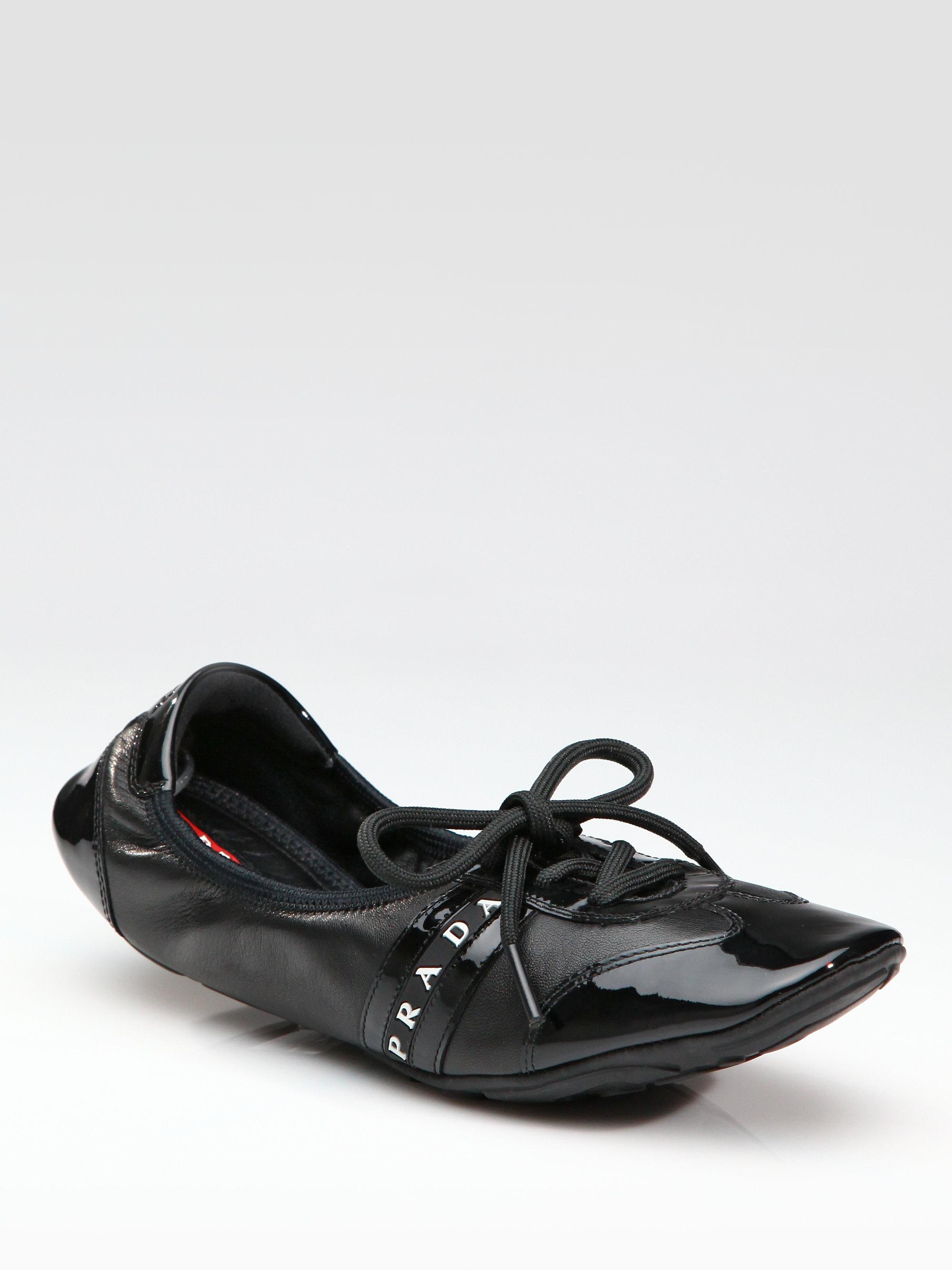 Prada Patent Scrunch Sneakers in Black