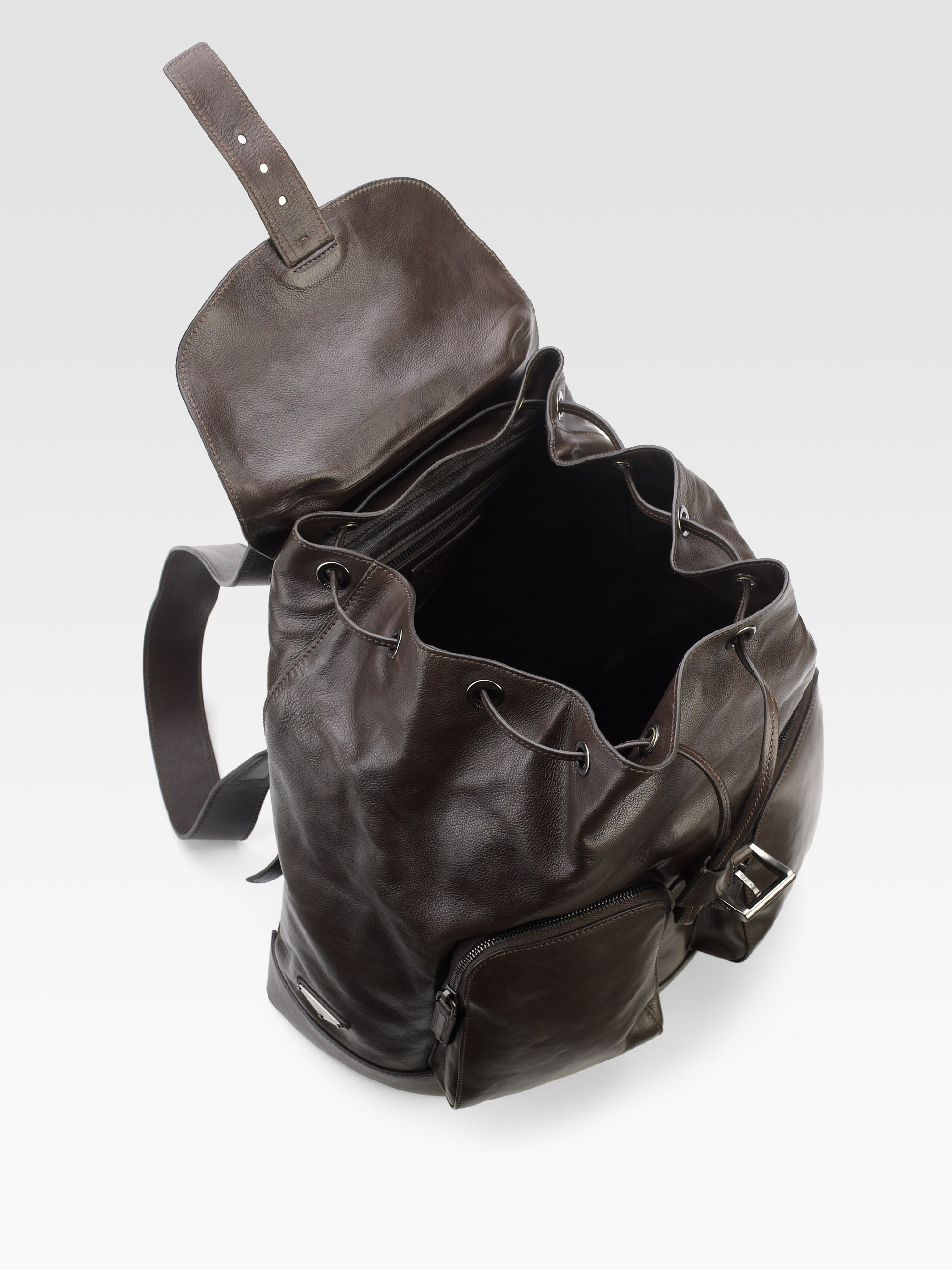 Prada Glace Leather Backpack in Brown for Men (dark brown) | Lyst