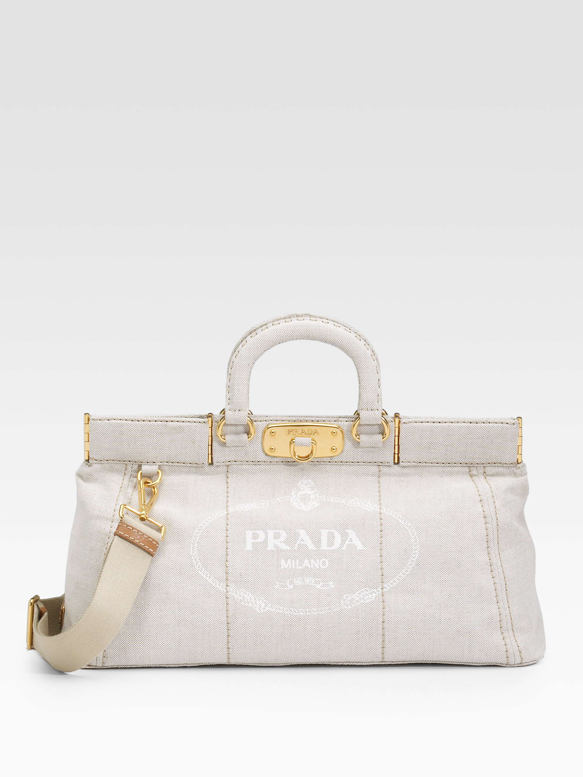 Prada Mistolino Frame Tote in Gray (natural) | Lyst