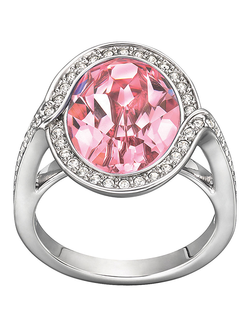 Lyst - Swarovski Tyra Silvertone Ring with Light Rose Crystal in Pink