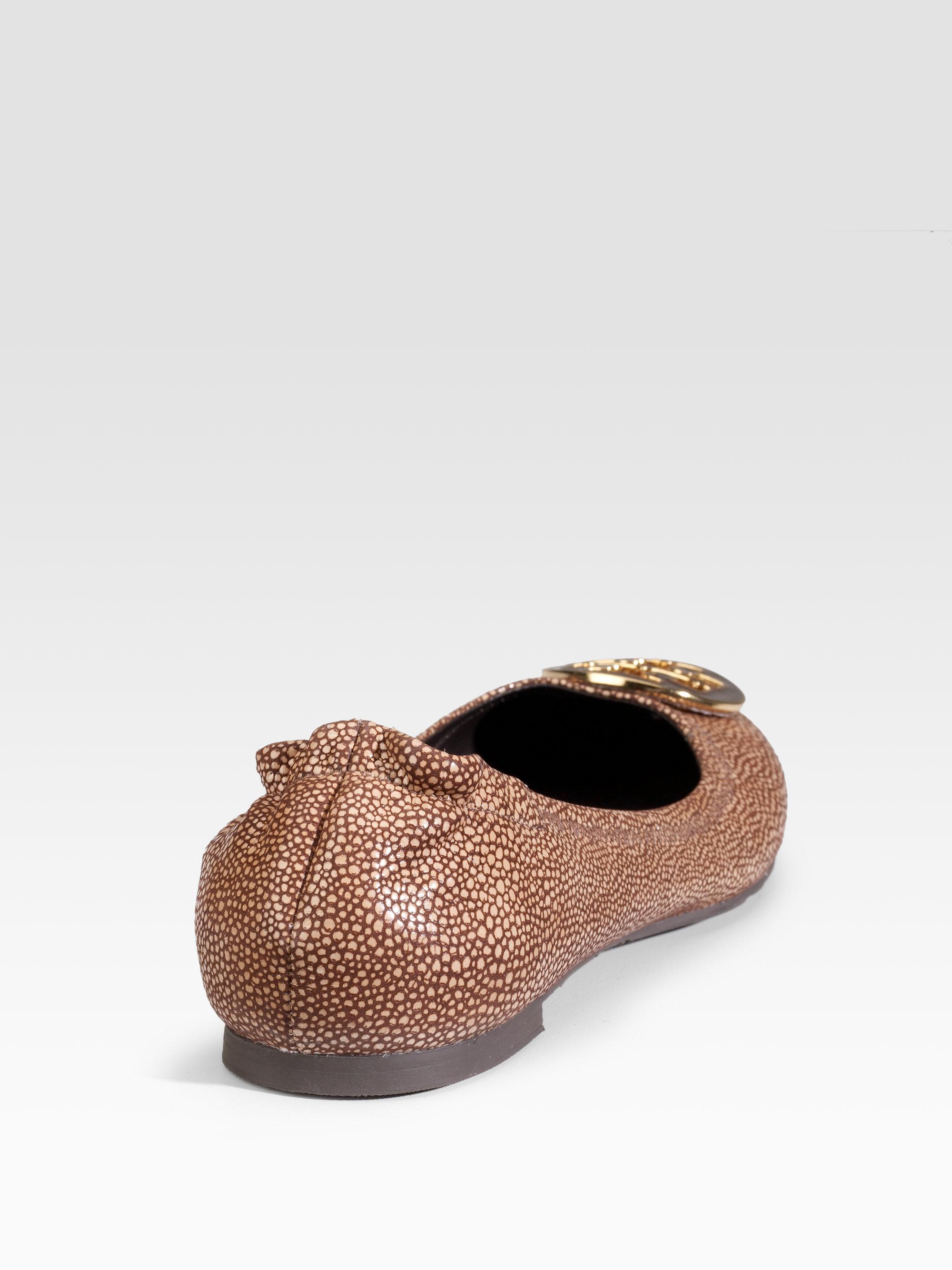 1e79210fdd6 Lyst - Tory Burch Reva Stingray Leather Ballet Flats in Brown