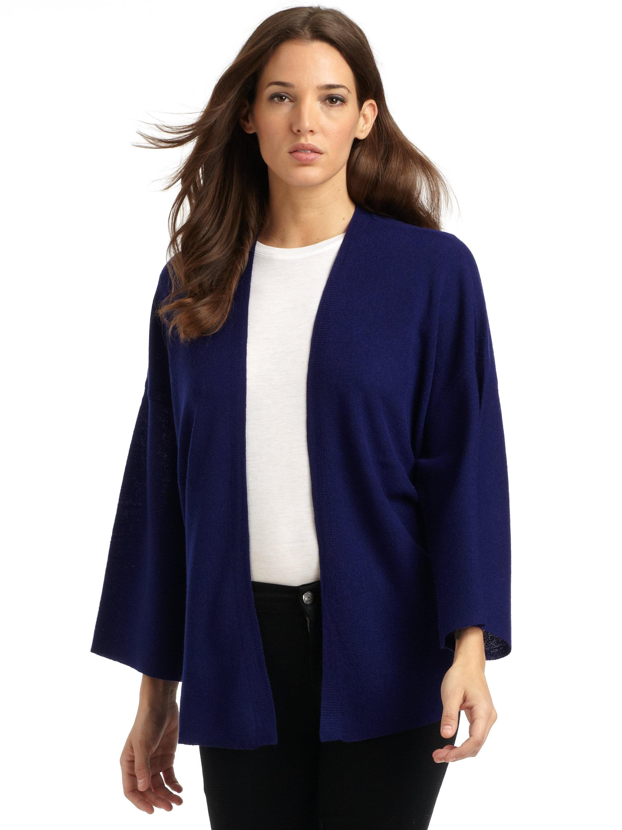 Eileen fisher Merino Wool Kimono Cardigan in Blue | Lyst