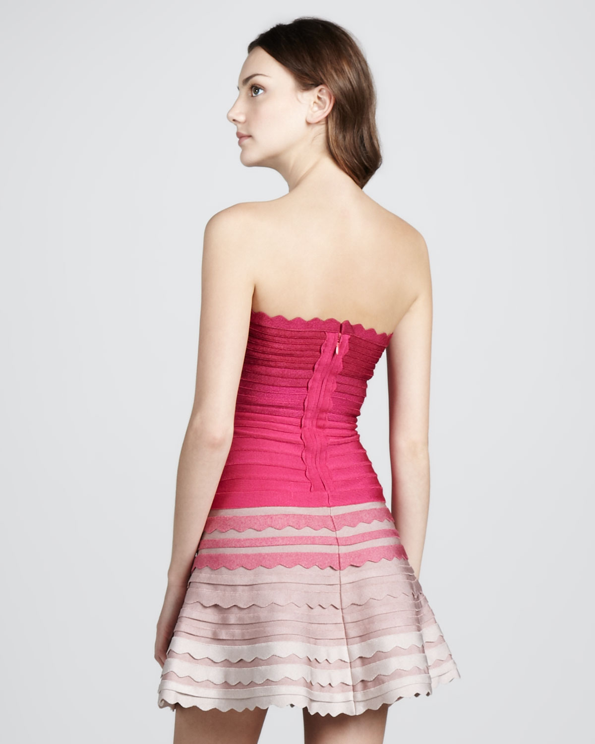 93e21a2c1dd4 Hervé Léger Ombre Scalloped Strapless Bandage Dress in Pink - Lyst