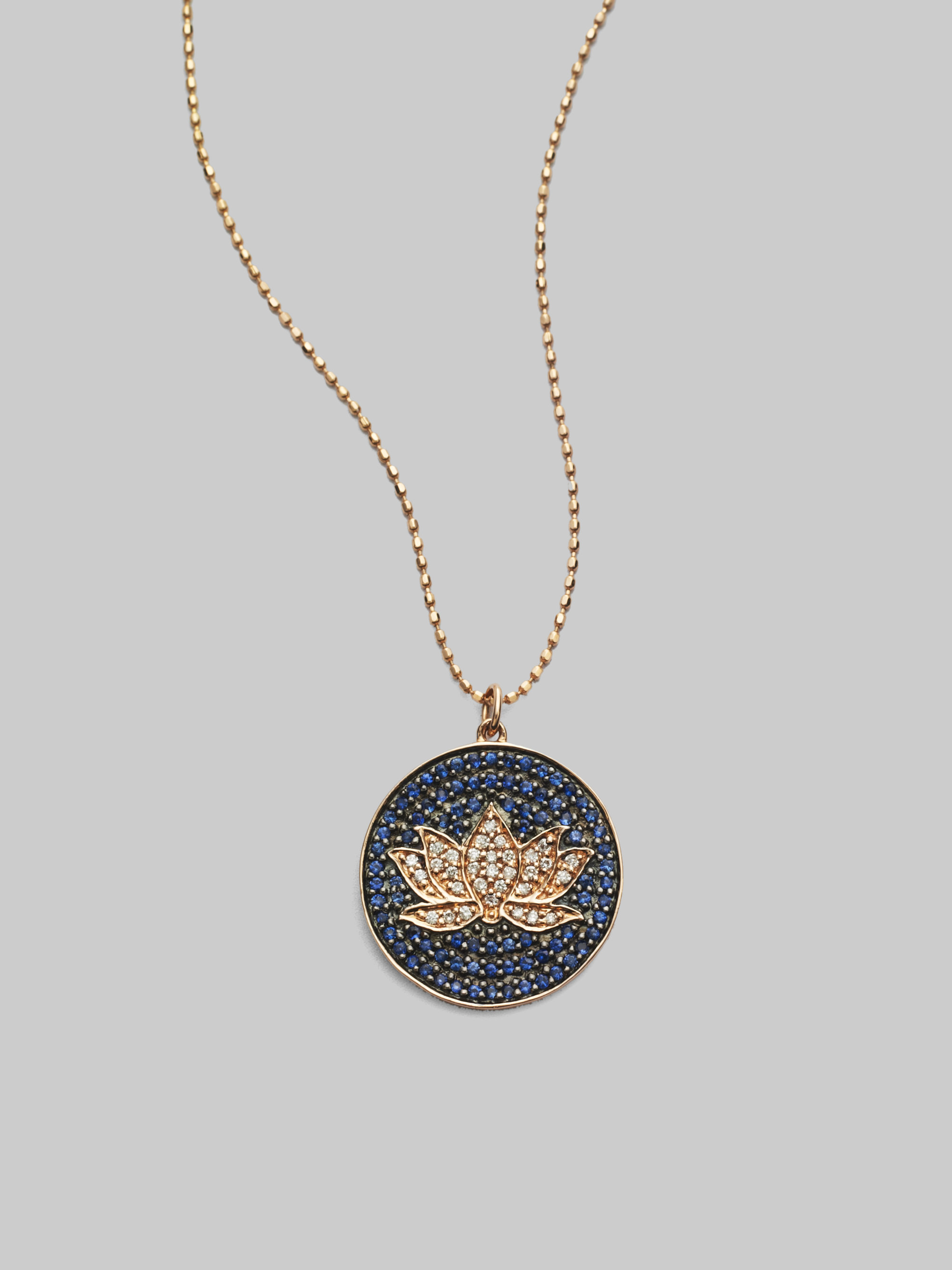 Sydney Evan Diamond Sapphire 14k Gold Lotus Disc Necklace