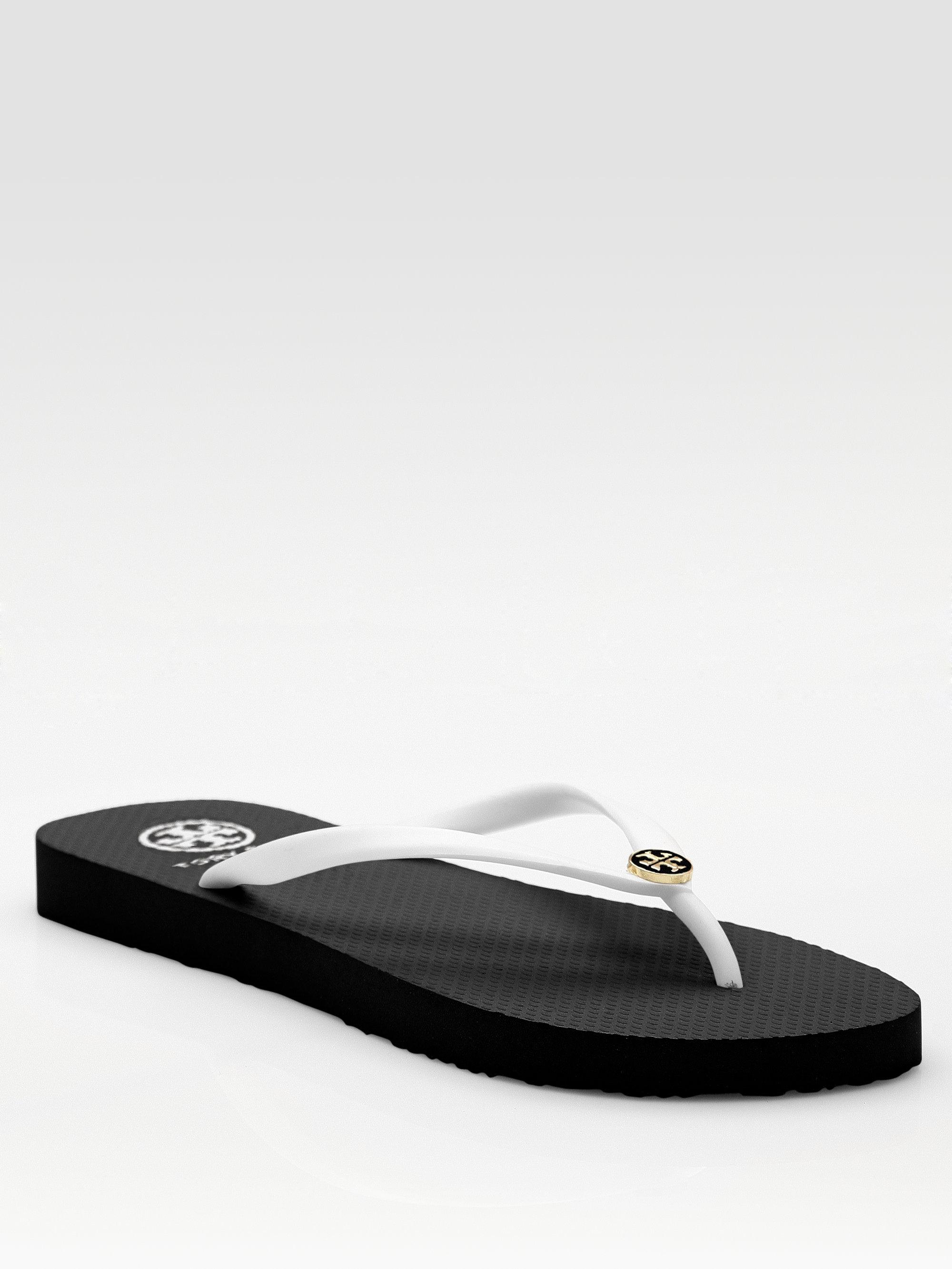 Tory Burch Thin Flip Flops In White White Khaki Lyst