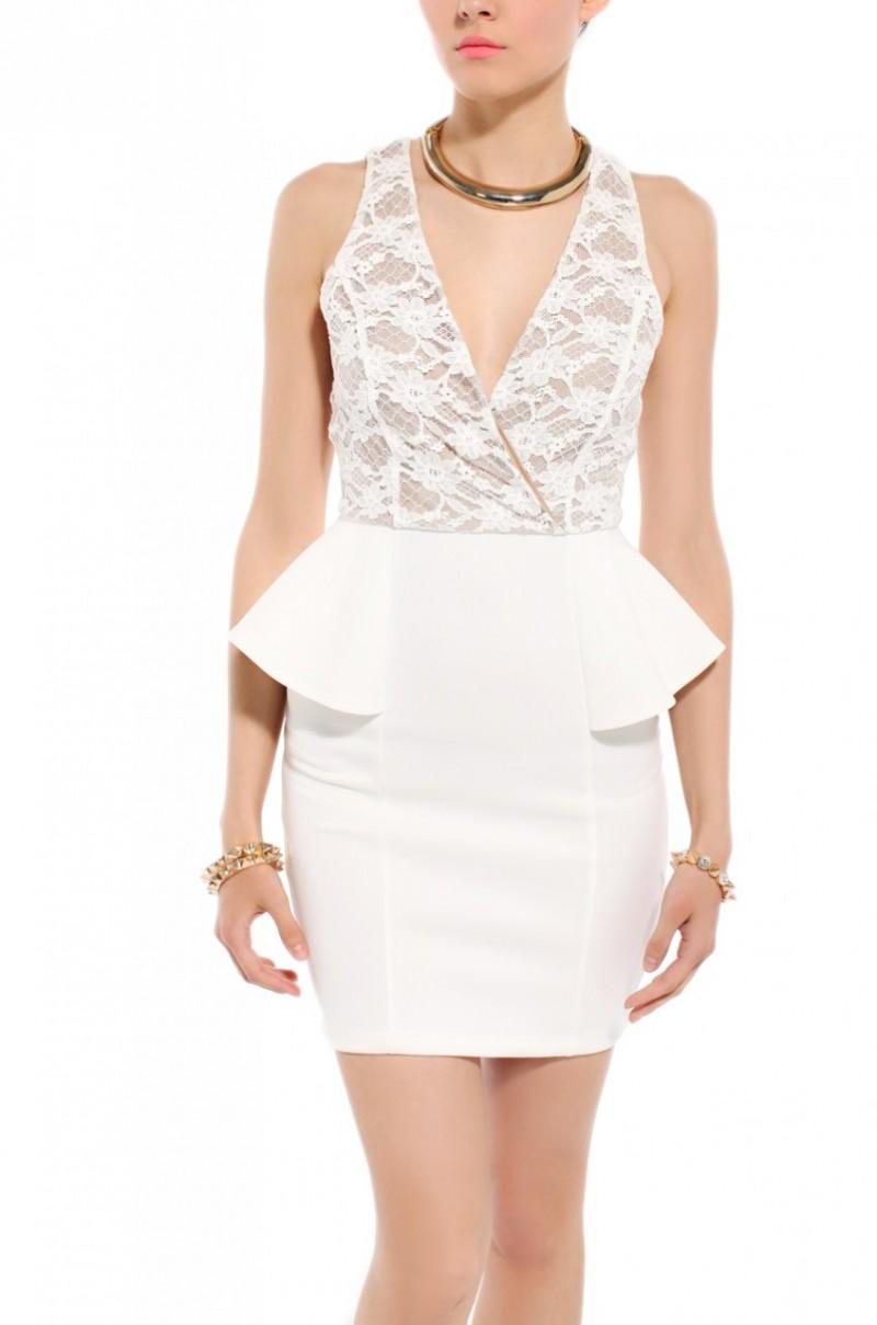 Akira Lace Bust Scuba Peplum Dress In White In White Lyst