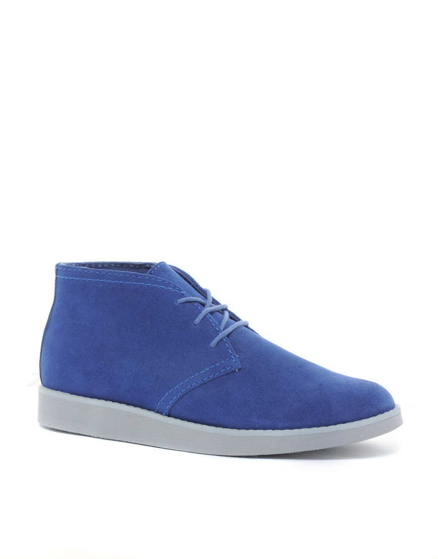 cheap monday alladin chukka boots in blue for lyst