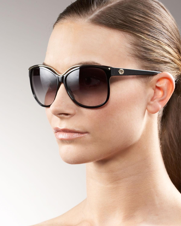6c85d7f0f71e3 Gucci Retro Cat Eye Sunglasses in Black - Lyst