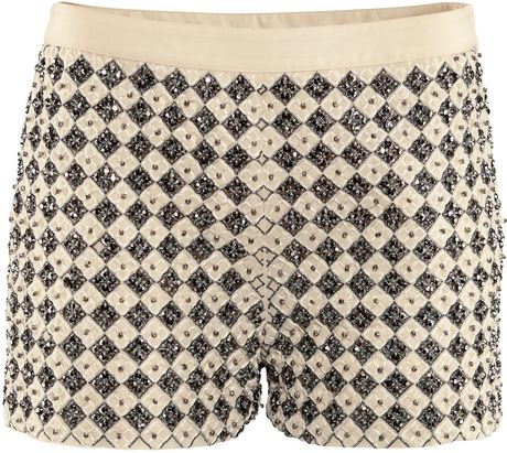H&m Shorts with Beaded Embroidery in White (natural)