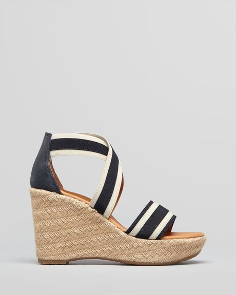 paul green espadrille wedge sandals in blue blue