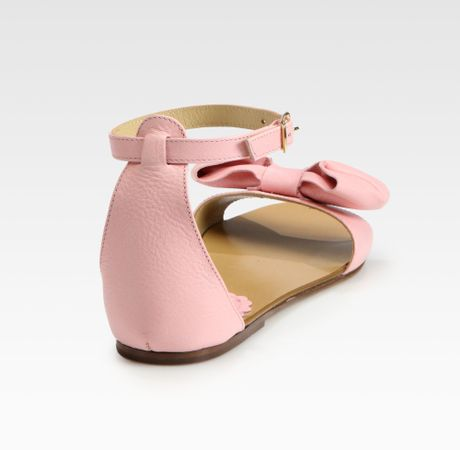 valentino leather bow flat sandals in pink light pink