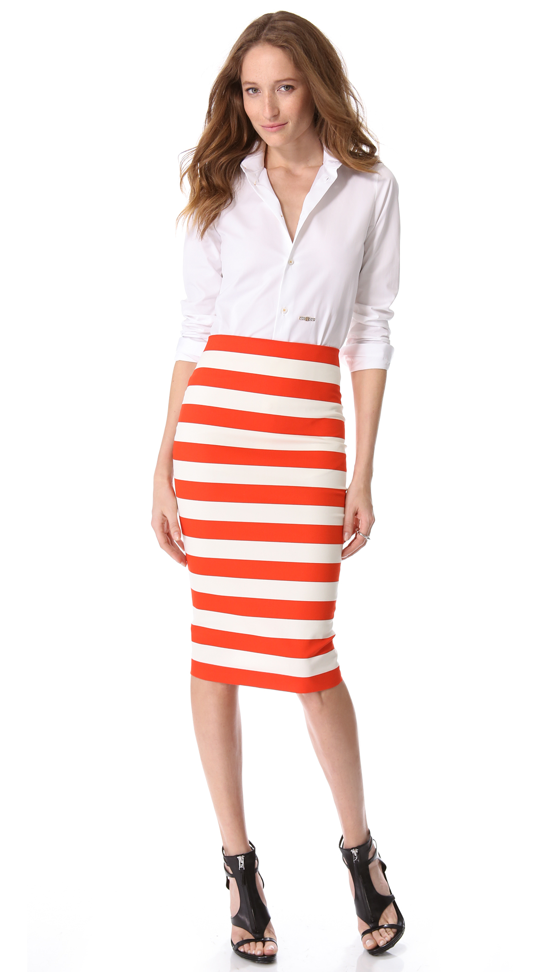 Robert rodriguez Graphic Stripe Pencil Skirt in White | Lyst