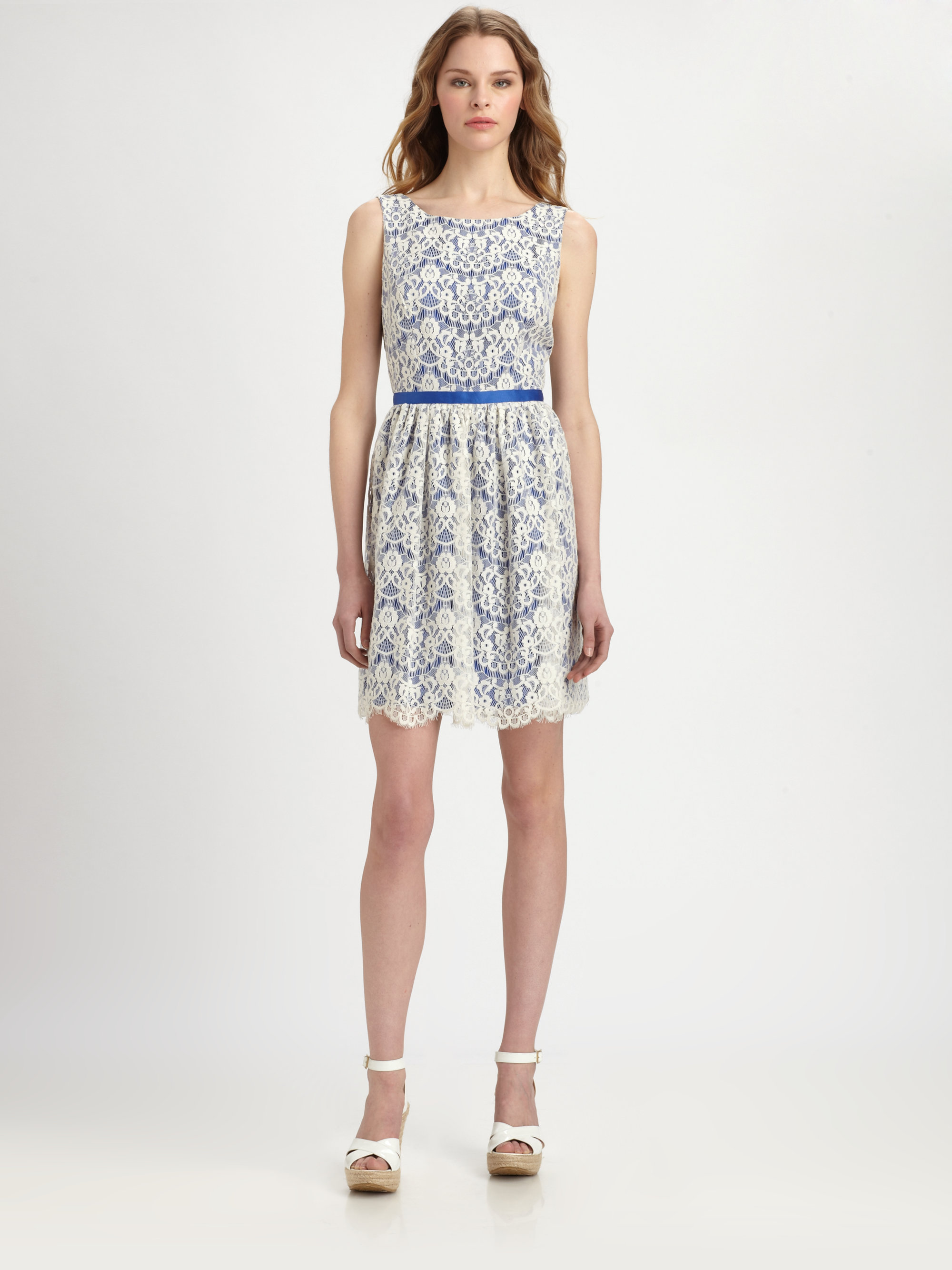 5c22f3415f5 Lyst - Shoshanna June Lace Dress in Blue