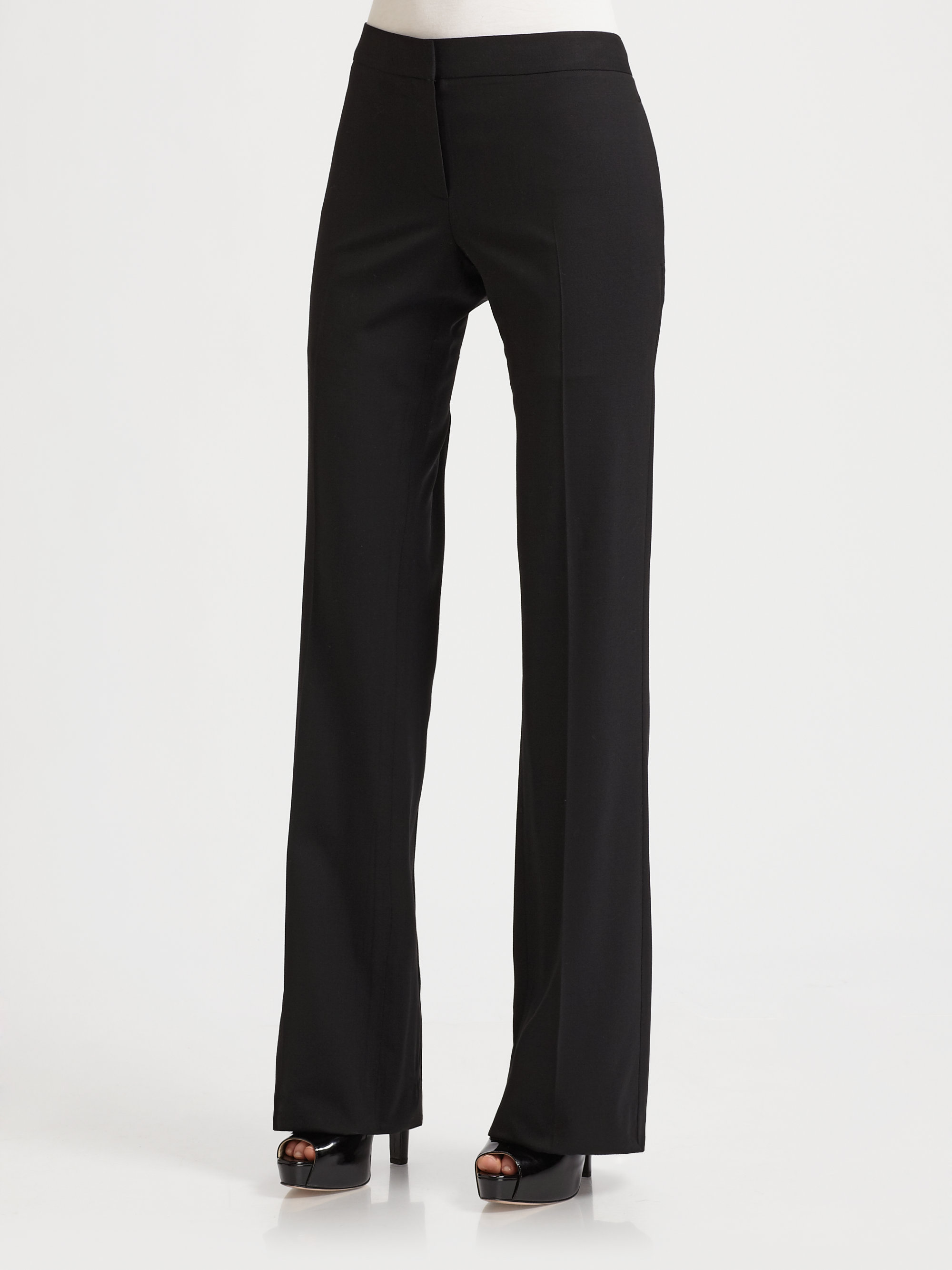 Theory Yadie Pleated Flare Dress Pants In Black Lyst