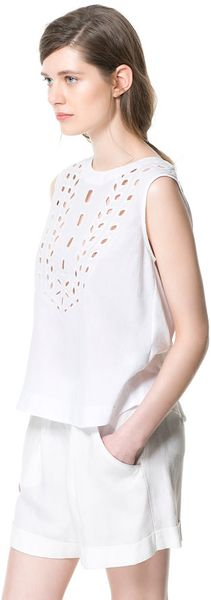Zara Embroidered Cotton Top - Lyst