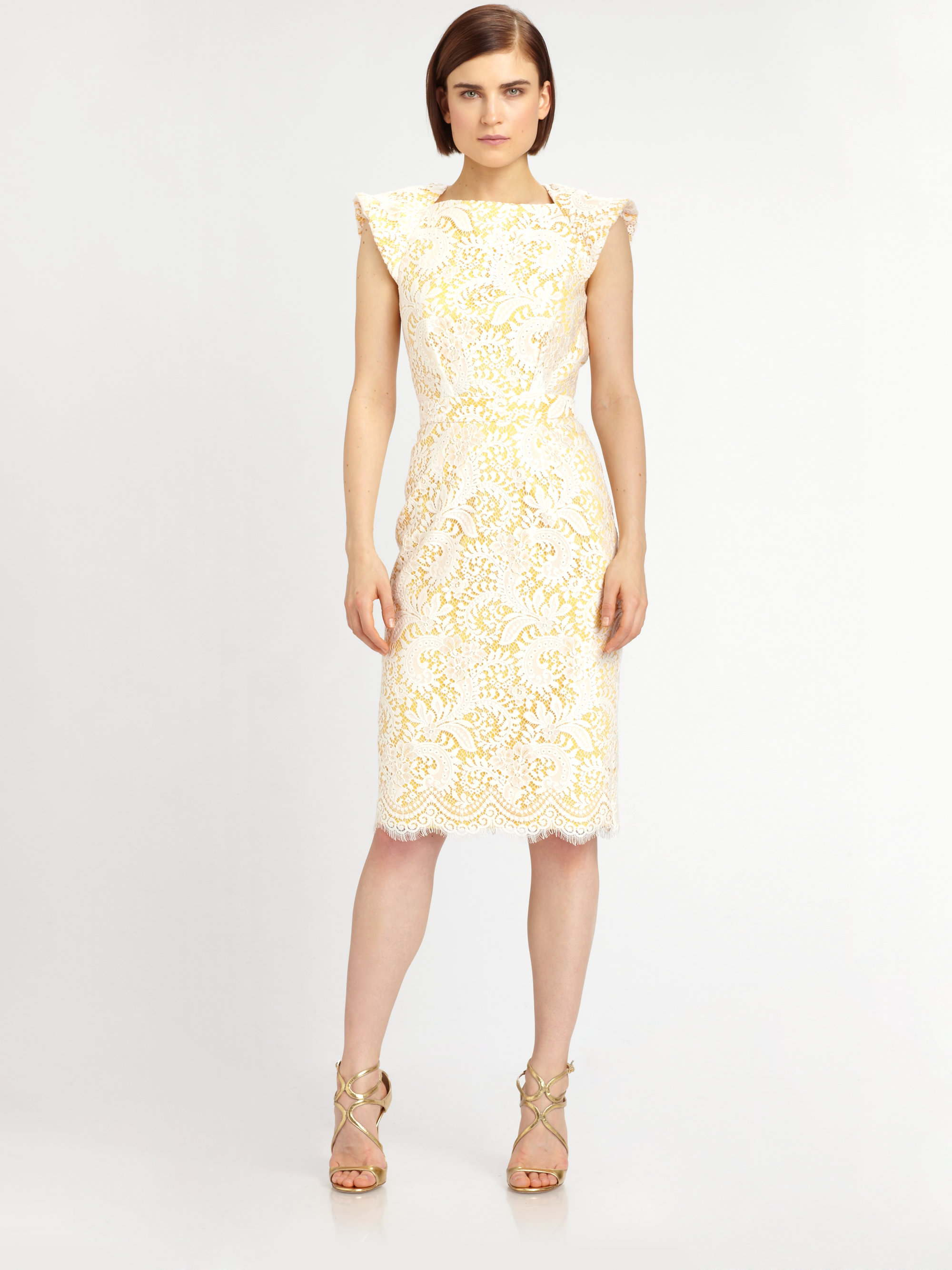 Badgley Mischka Bowback Lace Dress Lyst