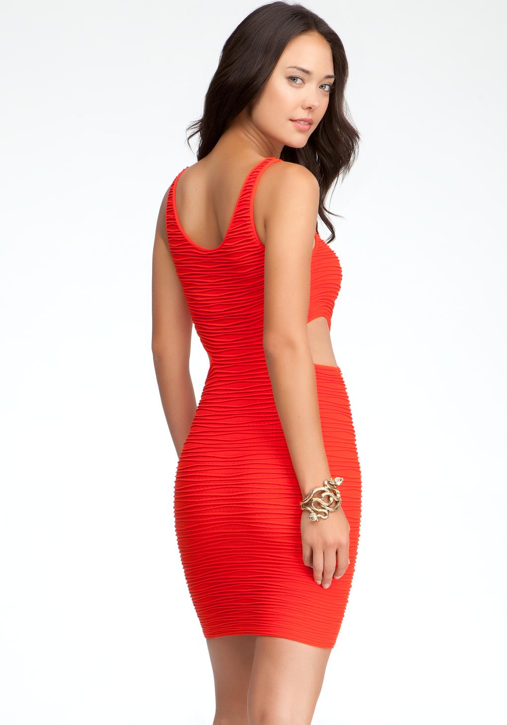 Bebe Side Cutout Bodycon Tank Dress In Red Lyst