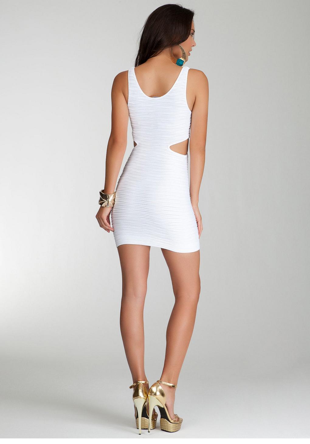 Bebe Side Cutout Bodycon Tank Dress In White Lyst